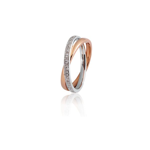 Red and white gold wedding band