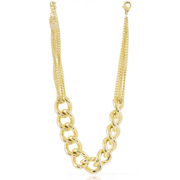 Yellow bronze necklace with fancy chain