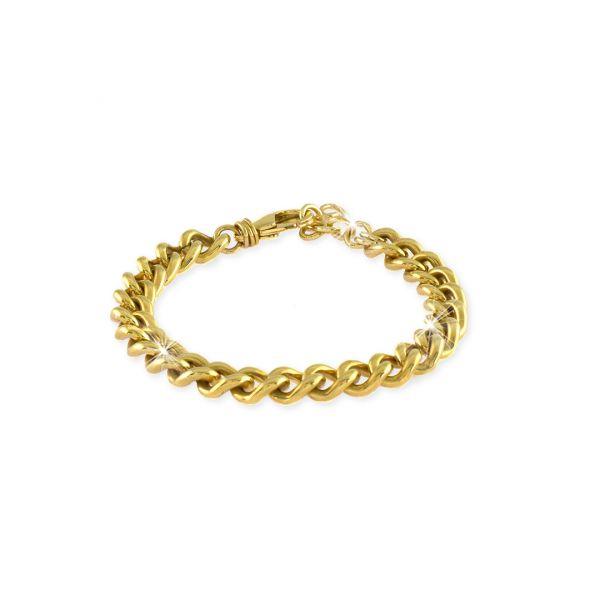 Bracciale con catena grumetta mini in bronzo dorato