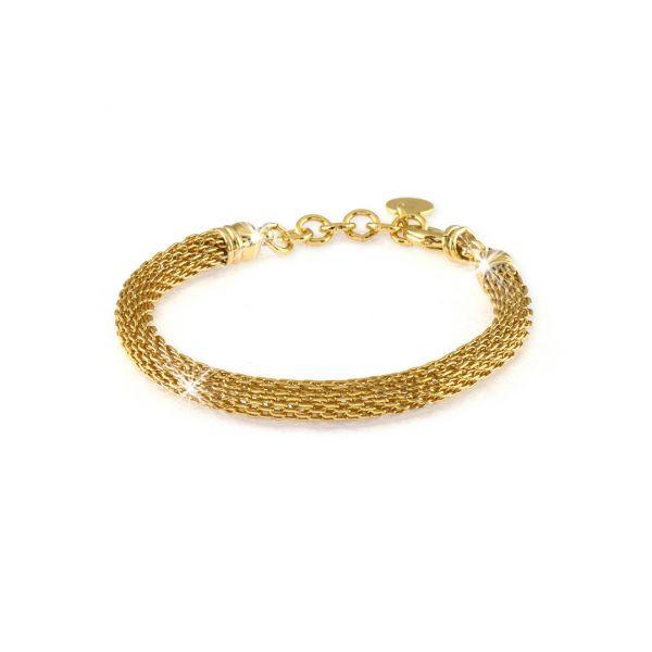 Bracciale con maglia a rete in bronzo dorato