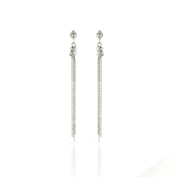 White silver earrings