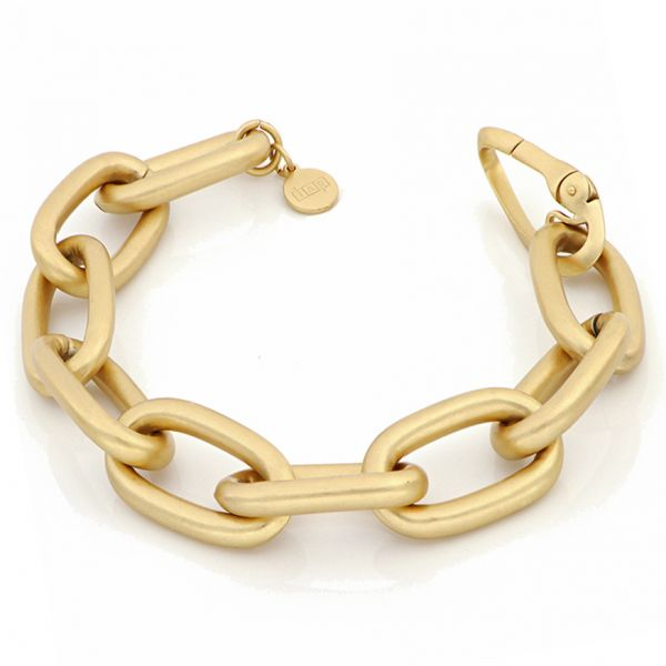 Satin yellow bronze bracelet with cable chain