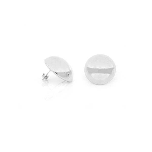White bronze Button earrings