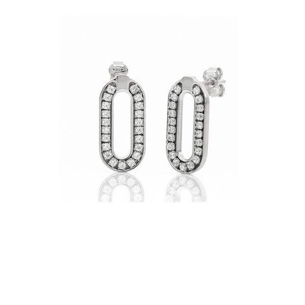 White silver mini paper clip earrings