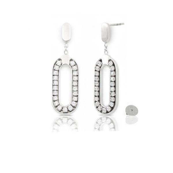 White silver Luxury Rétro earrings