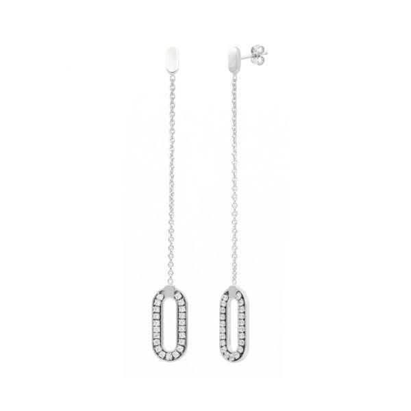 White silver pendant earrings