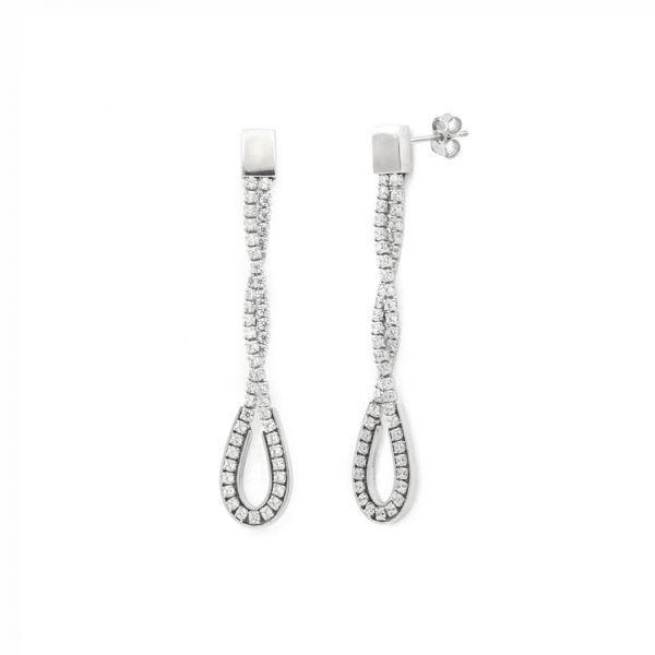 Orecchini lunghi in argento bianco e zirconi