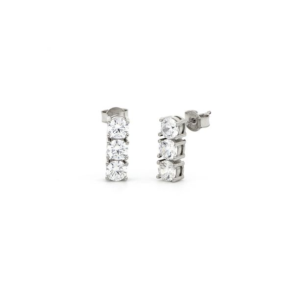 White silver Trilogy earrings