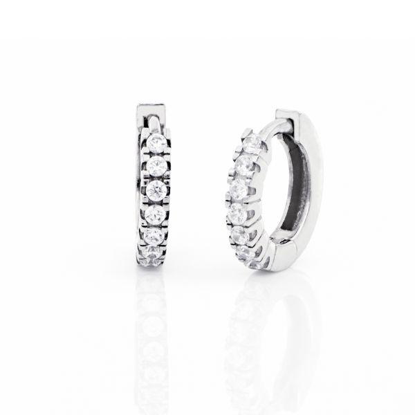 Orecchini a cerchio mini in argento bianco e zirconi