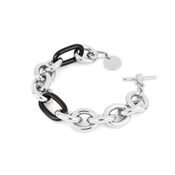 White and black bronze bracelet