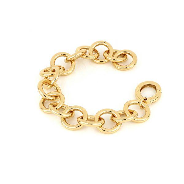 Bracciale catena tonda in bronzo dorato lucido