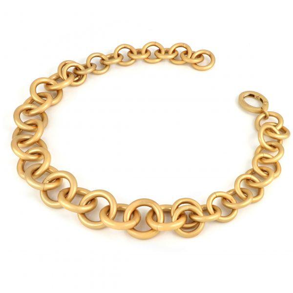 Collana catena tonda in bronzo dorato satinato