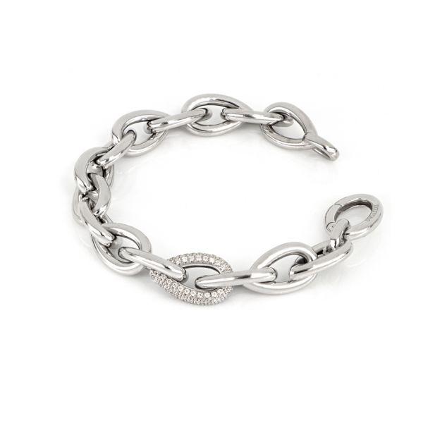 White silver bracelet with zirconia stones