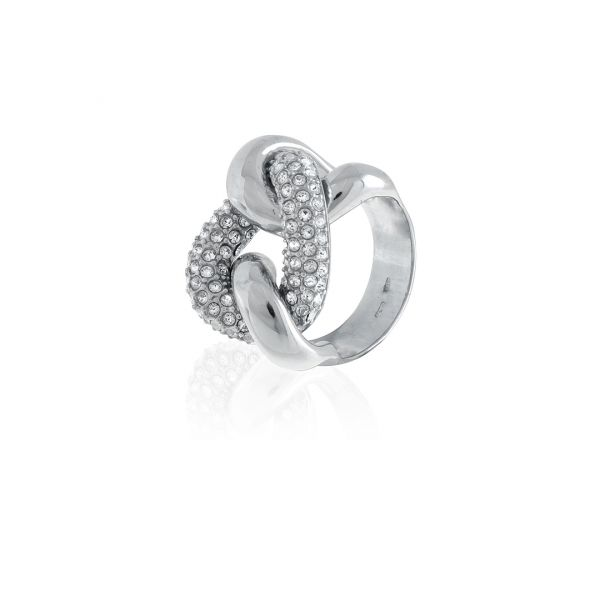 White silver maxi ring with cubic zirconia groumette