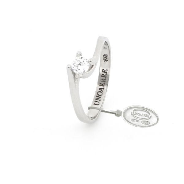 Anello Solitario Mini in argento bianco