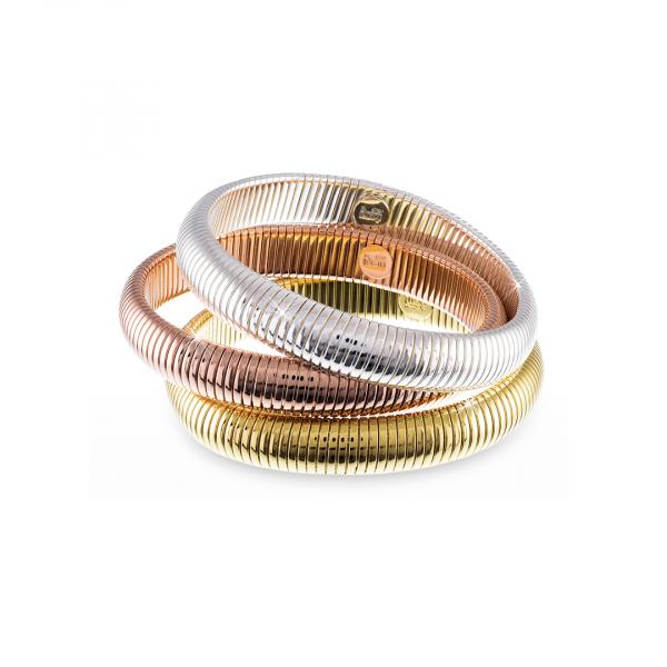 Bracciale rigido Tubogas in bronzo tre colori