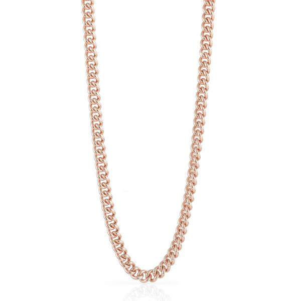 Collana catena grumetta piccola in bronzo dorato rosa