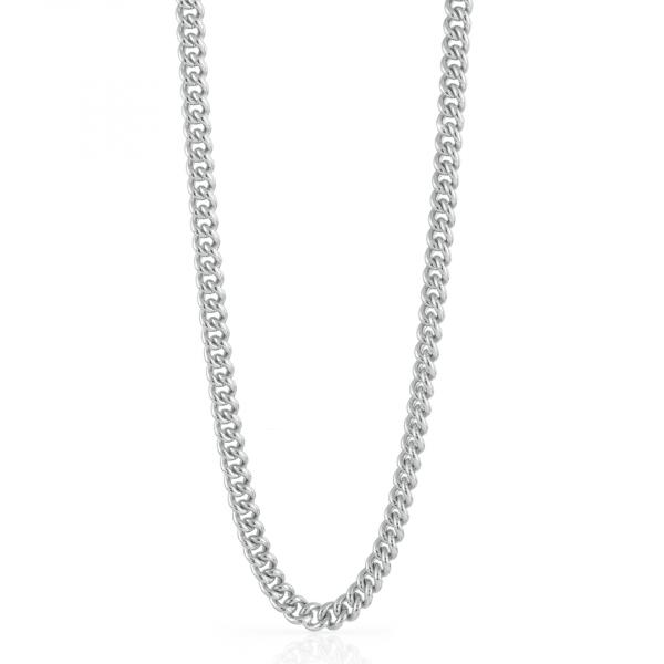 Collana catena grumetta piccola in bronzo argentato