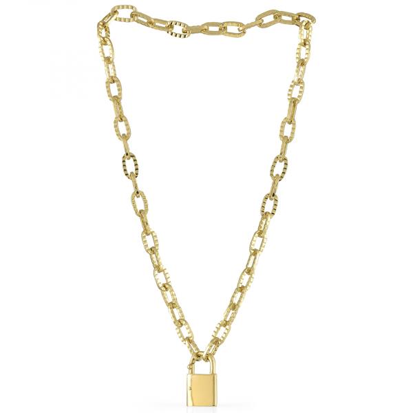 Collana in bronzo dorato con lucchetto