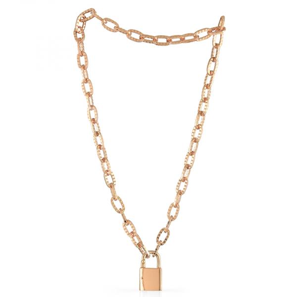 Collana in bronzo dorato rosa con lucchetto