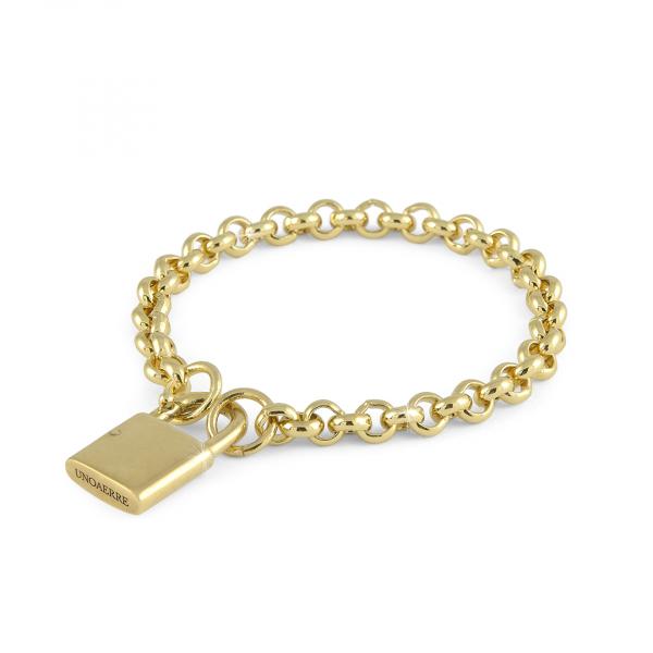 Bracciale in bronzo dorato con lucchetto