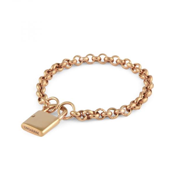 Bracciale in bronzo dorato rosa con lucchetto