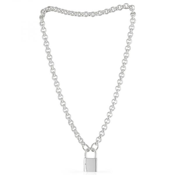 Collana in bronzo argentato con lucchetto