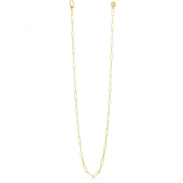 Collana lunga in bronzo dorato con catena paper clip