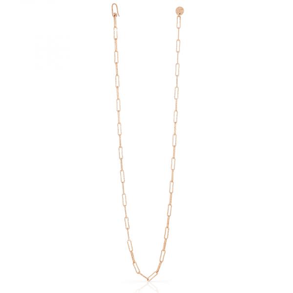 Collana lunga in bronzo dorato rosa con catena paper clip
