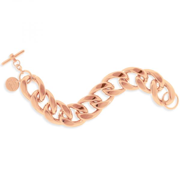 Bracciale con catena maxi in bronzo dorato rosa
