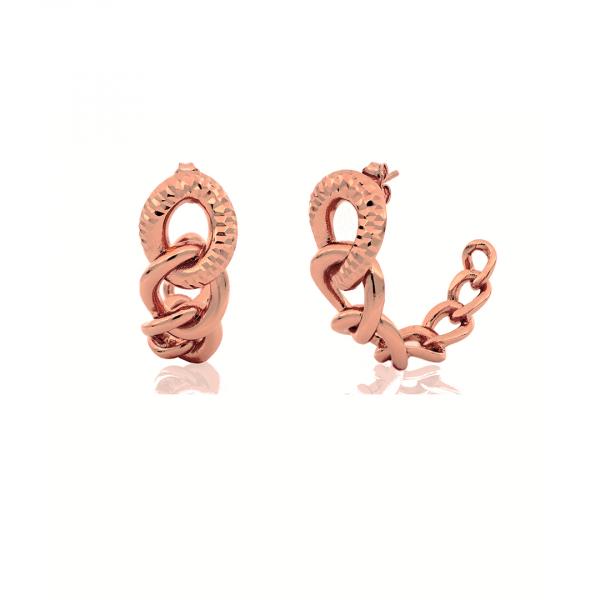 Orecchini in bronzo dorato rosa con catena diamantata