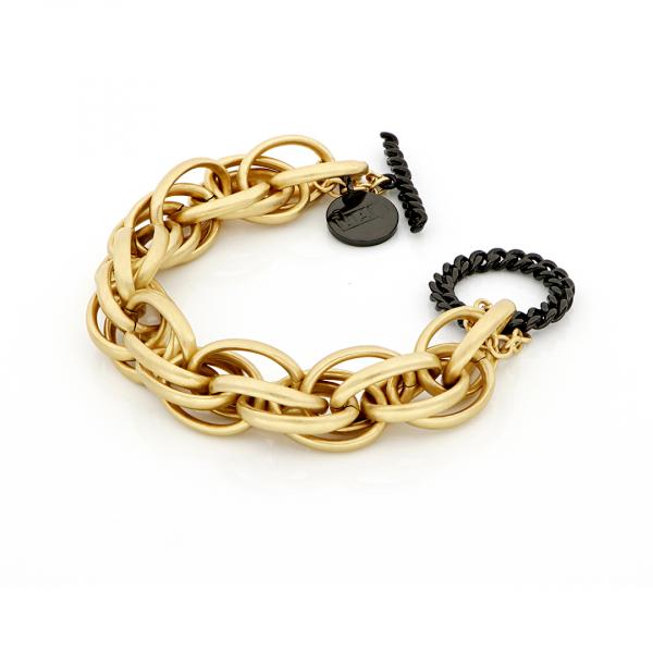 Bracciale in bronzo dorato e nero