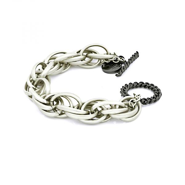 White and black bronze bracelets