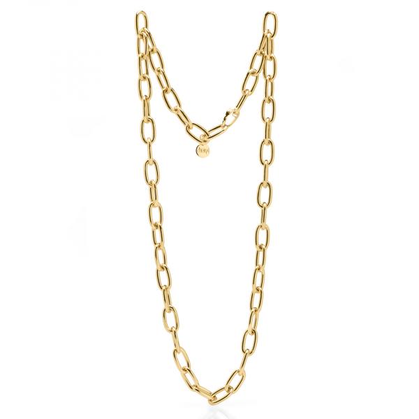 Collana catena lunga in bronzo dorato lucido