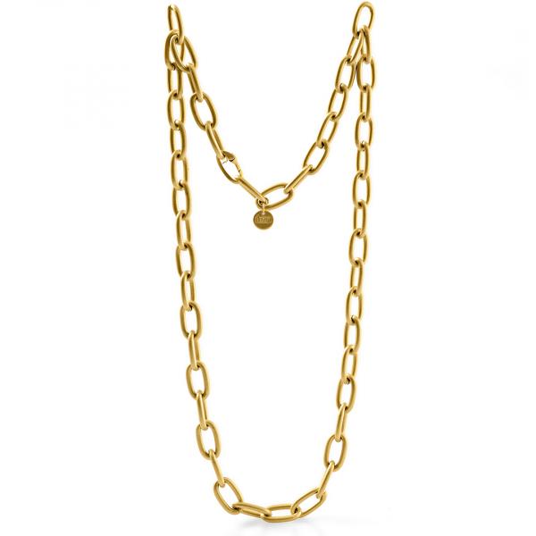 Collana catena lunga in bronzo dorato satinato