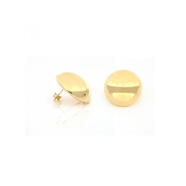Orecchini a bottone in bronzo dorato