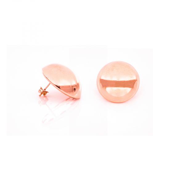 Orecchini a bottone in bronzo dorato rosa