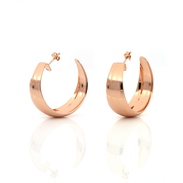 Orecchini a semi-cerchio in bronzo dorato rosa