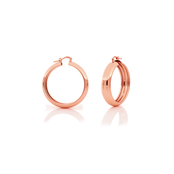Orecchini a cerchio mini in bronzo dorato rosa