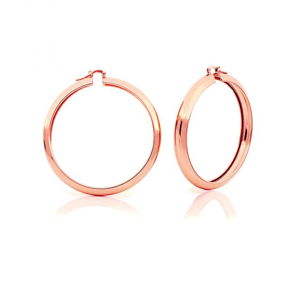 Orecchini a cerchio maxi in bronzo dorato rosa