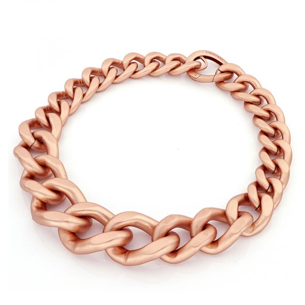 Collana maxi catena grumetta in bronzo rosa