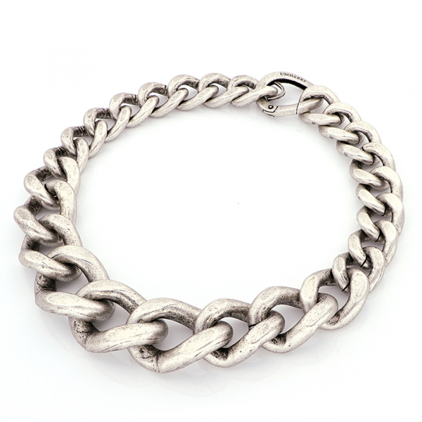 Collana maxi catena grumetta in bronzo argentato