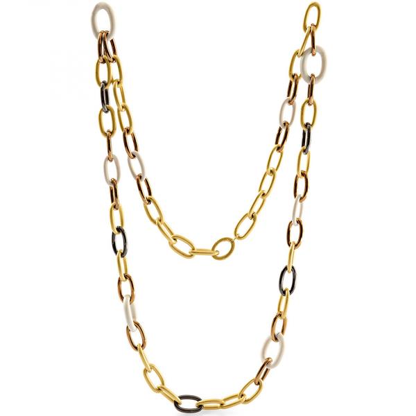 Yellow brown black bronze necklaces