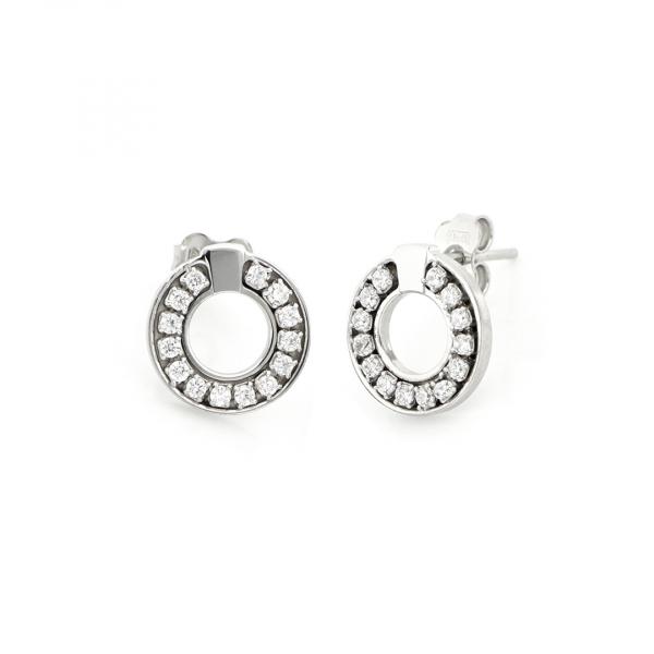 White silver mini round-shaped earrings