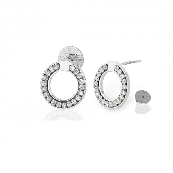 White silver round-shaped earrings