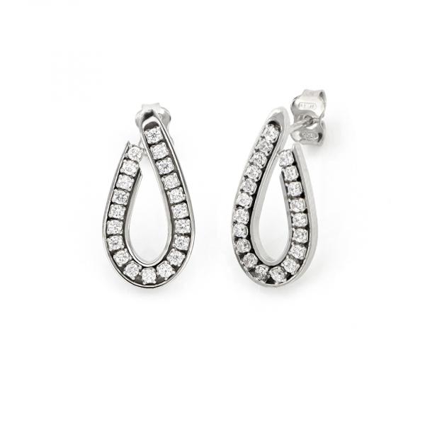 White silver drop earrings