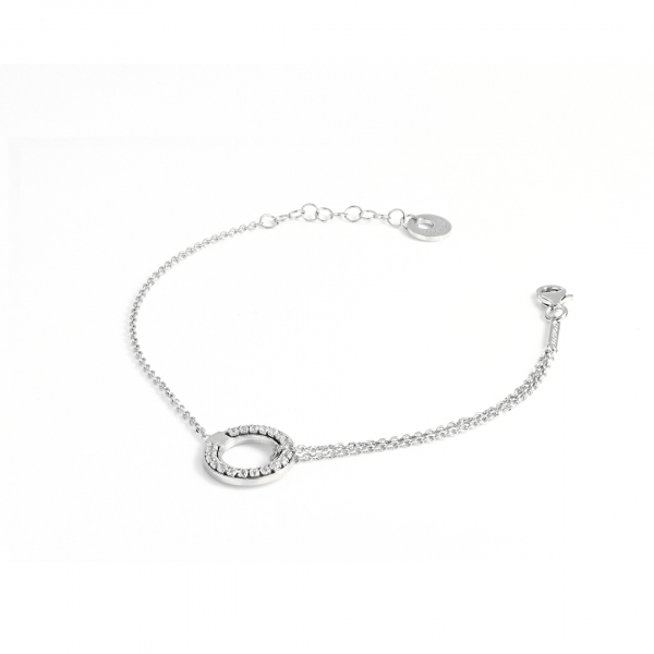 White silver bracelet with cubic zirconia