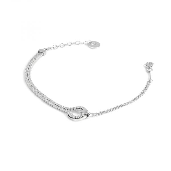 White silver bracelet with zircon stones