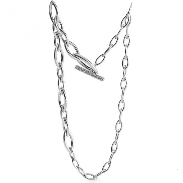 White silver necklace with navette chain