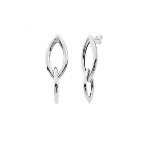 White silver Navette earrings